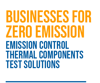 Businesses for Zero Emission: Emission Control, Thermal Components, Test Solutions